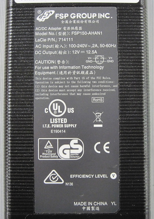 FSP Group Inc  12vDC 12 5 Amp Power Supply #FSP150-AHAN1