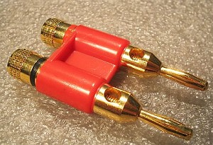 Gold Plated Dual Banana Plug/Jack w/Red Body