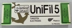 "Anchor Brand UNIFIL5 ""Puretung"" Tungsten Welding Electrodes Pkg. 10 pc."