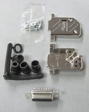 DB15 Female Soldertail Right Angle Shell Connector Kit