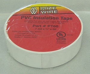 "PVC White Electrical Tape 3/4"" x 60'"