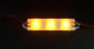 3-LED Amber (Yellow) Waterproof Strip 589nm, 5000~10000 mlm 12v DC