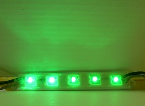 Green 5-LED Waterproof Strip 12v DC 40mA