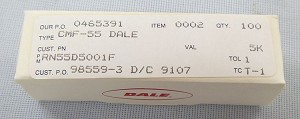 Dale 5k Ohm 1/8 Watt Resistor Box of 100 #RN55D5001F
