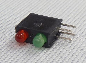 Two High Right Angle 3mm LED Indicator Red/Green Model G378B/I2+G2
