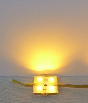 Yellow (Amber) 4-LED Waterproof Module w/Steel back 12v DC