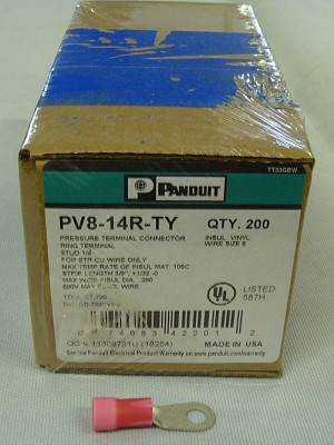 "Panduit Panduit 	Ring Tongue Terminal 8 AWG, 1/4"" Stud Box of 200 PV8-14R-TY"