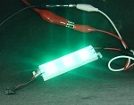 3-LED Pure Green Waterproof Strip 525nm, 14000mlm 12v DC