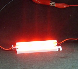 3-LED Red Waterproof Strip 750 mcd 12v DC
